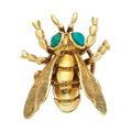 Estate Jewelry:Brooches - Pins, Turquoise, Gold Brooch. ...