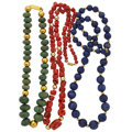 Estate Jewelry:Necklaces, Coral, Lapis Lazuli, Jasper Necklaces. ... (Total: 3 Items)