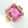 Estate Jewelry:Rings, Pink Topaz, Pink Sapphire, Diamond, Gold Ring. ...