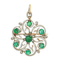 Estate Jewelry:Brooches - Pins, Emerald, Platinum-Topped Gold Pendant-Brooch. ...