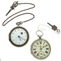 Timepieces:Pocket (pre 1900) , Swiss Improved Patent Key Wind & French Leather Verge FuseeRunners. ... (Total: 2 Items)