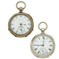 Timepieces:Pocket (pre 1900) , Waltham & H.A. Prentice 18 Size Pocket Watches Runners. ...(Total: 2 Items)