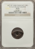 Curacao, Curacao: Kingdom of the Netherlands Counterstamped 1/4 Gulden ND (1838) VG8 NGC,...