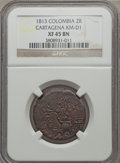 Colombia, Colombia: Cartagena 2 Reales 1813 XF45 Brown NGC,...