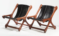DON SHOEMAKER (American, 20th century) Sling Chair (set of two), circa 1950 Oiled rosewood, leather<