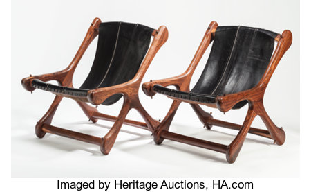 DON SHOEMAKER (American, 20th century)Sling Chair (set of two), circa 1950Oiled rosewood, leather28 x 23-1/4 x 29 ... (Total: 2 Items)