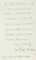 "Autographs:Celebrities, Abolitionist Wendell Phillips Autograph Letter Signed. Four pagesof a bifolium, 5"" x 8"", n.p., January 6, 1875, to Lacy Bow..."