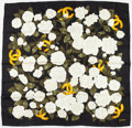 """Luxury Accessories:Accessories, Chanel Black & White Floral Silk Scarf. Excellent Condition. 32"""" Width x 32"""" Height. ..."""