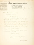 "Autographs:Celebrities, Booker T. Washington Letter Signed. One page, 8"" x 10.5"", onTuskegee Normal and Industrial Institute, Tuskegee [Alabama], J..."