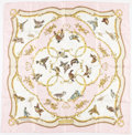 "Luxury Accessories:Accessories, Hermes 90cm Pink & Beige ""La Cle des Champs,"" by FrançoiseHeron Silk Scarf. Excellent Condition. 36"" Width x 36""Leng..."
