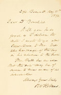 "Autographs:Authors, Poet Oliver Wendell Holmes Sr. Autograph Letter Signed ""OWHolmes."" One page, 4.5"" x 7"", [Boston], May 11, 1892, to D.B..."