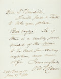 "Autographs:Authors, Poet Oliver Wendell Holmes Sr. Autograph Letter Signed ""O.W.Holmes."" One page of a bifolium, 4.5"" x 6"", [Boston], June ..."
