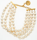 "Luxury Accessories:Accessories, Karl Lagerfeld Gold & Pearl Necklace. Good Condition.16.5"" Length x 2"" Width. ..."