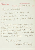 "Autographs:Authors, Author Edward E. Hale Autograph Letter Signed. One page, 5"" x 8"",Roxbury [Massachusetts], March 18, 1880. Hale endorses Edw..."