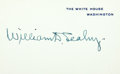 """Autographs:Military Figures, Fleet Admiral William D. Leahy White House Card Signed. 4"""" x 2.5"""".With the original transmittal envelopes. Leahy (1875-1959..."""