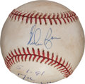 Baseball Collectibles:Balls, 1991 Nolan Ryan Game Used, Signed Baseball From Seventh No-HitterGame, with Umpire Provenance. ...