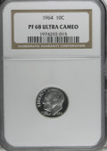 Proof Roosevelt Dimes: , 1964 10C PR68 Deep Cameo NGC. NGC Census: (271/141). PCGSPopulation (305/260). Numismedia Wsl. Price for NGC/PCGS coin in...