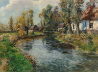 FREDERIC CHARLES VIPOND EDE (American, 1865-1913) Country Landscape Oil on canvas 22-1/2 x 29-1/2