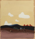 Fine Art - Painting, American:Modern  (1900 1949)  , E. McKnight Kauffer (American, 1890-1954). Landscape withTeepees, 1946. Gouache on board. 14-5/8 x 12 inches (37.1 x30...