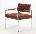 Furniture, HARVEY PROBBER (American, 1922-2003). Lounge Chair, circa 1960. Chromed metal, suede. 29-1/2 x 26-1/4 x 24-1/2 inches (7...