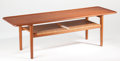 Furniture, HANS WEGNER (Danish, 1914-2007). AT-10 (coffee table), circa 1950, Andreas Tuck. Teak, oak, caning. 20 x 63-1/4 x 20 inc...