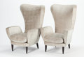 PAOLO BUFFA (Italian, 1903-1970) Pair of Armchairs, circa 1950-1959 Upholstery, ebonized wood 39