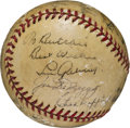 Autographs:Baseballs, Circa 1940 Hall of Famers Multi-Signed Baseball with Gehrig, Foxx....