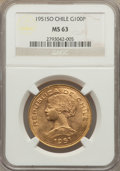 Chile, Chile: Republic gold 100 Pesos 1951-So MS63 NGC,...