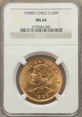 Chile, Chile: Republic gold 100 Pesos 1958-So MS64 NGC,...