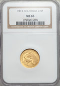 Colombia, Colombia: Republic gold 2 1/2 Pesos 1913 MS65 NGC,...