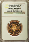 Mongolia, Mongolia: Republic gold Proof 750 Tugrik 1980 PR66 Ultra CameoNGC,...