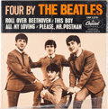 Music Memorabilia:Recordings, Beatles Four By The Beatles EP (Capitol EAP1-2121, 1964)....