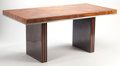 Post-War & Contemporary, Manner of PIERRE CARDIN (French, b. 1922). Dining Table, circa 1970. Burl walnut veneer, steel, mahogany. 31-1/2 x 71 x ...