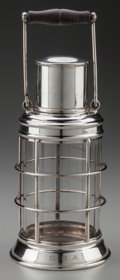 Decorative Accessories, ASPREY & CO.. Ship's Lantern Cocktail Shaker, circa 1930. Silver-plate mounted glass, walnut. 13-1/8 inches high (33.3 c...