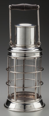ASPREY & CO. Ship's Lantern Cocktail Shaker, circa 1930 Silver-plate mounted glass, walnut 13-1/8