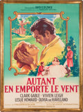 "Movie/TV Memorabilia:Posters, A French Grande Poster from ""Gone With The Wind.""..."
