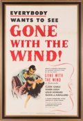 "Movie/TV Memorabilia:Posters, A One-Sheet Poster from ""Gone With The Wind.""..."