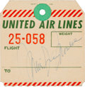 Movie/TV Memorabilia:Autographs and Signed Items, A Marilyn Monroe Signed Baggage Claim Stub, 1950s....