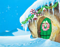 "Animation Art:Painted cel background, The Flintstones ""Christmas Flintstone"" Santa's HouseBackground (Hanna-Barbera, 1964)...."