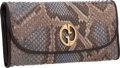 "Luxury Accessories:Accessories, Gucci Gray & Blue Python Continental Wallet. ExcellentCondition. 7.5"" Width x 4"" Height x 1"" Depth. CITEScompl..."