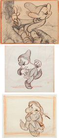 Animation Art:Production Drawing, Snow White and the Seven Dwarfs Dopey, Grumpy, and BashfulConcept Art (Walt Disney, 1937).... (Total: 3 Original Art)