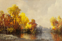 A.D. GREER (American, 1904-1998) Docks in Fall Oil on canvas 23-3/4 x 36 inches (60.3 x 91.4 cm)<