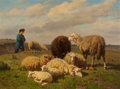 Fine Art - Painting, European, LOUIS ROBBE (Belgian, 1806-1887). Tending the Sheep. Oil onpanel. 21-3/8 x 29 inches (54.3 x 73.7 cm). Signed lower lef...