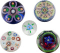 Art Glass:Other , FIVE PERTHSHIRE MILLEFIORI GLASS PAPERWEIGHTS, Crieff, Scotland,circa 1960-1984. Marks to all: P, (various dates). 2-1/...(Total: 5 Items)