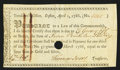 Colonial Notes:Massachusetts, Massachusetts Treasury Tax Collector's Certificate 7£ 1s April 1,1786 Anderson MA-37 Very Fine, POC.. ...