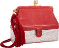 """Luxury Accessories:Bags, Judith Leiber Half Bead Red Snakeskin & Silver Crystal EveningBag. Excellent Condition. 6"""" Width x 4.5"""" Height x2.5""""..."""