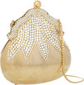 """Luxury Accessories:Bags, Judith Leiber Half Bead Gold & Silver Crystal ChatelaineMinaudiere Evening Bag. Very Good Condition. 5"""" Width x5"""" He..."""
