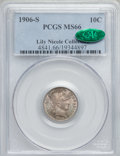Barber Dimes, 1906-S 10C MS66 PCGS. CAC....