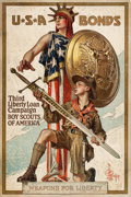 "Movie Posters:War, World War I Propaganda (U.S. Government Printing Office, 1917). Third Liberty Loan Poster (20"" X 30"") ""Weapons for Liberty.""..."