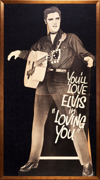 "Loving You (Paramount, 1957). Framed Standee (Standee Measurement: 36"" X 71""; Frame Measurement: 42"" X 75..."